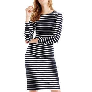J.Crew Long Sleeve Navy Striped Knit Midi Dress 10